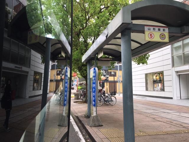 宮崎山形屋前のバス停留所