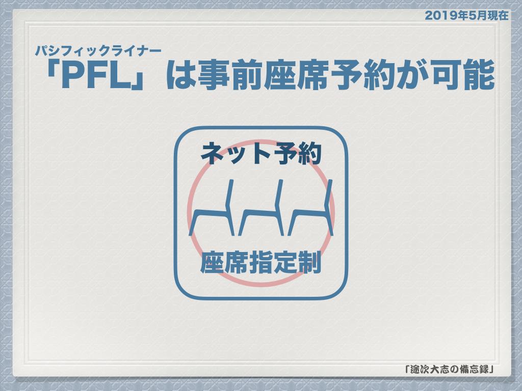 「PFL」は事前座席予約が可能