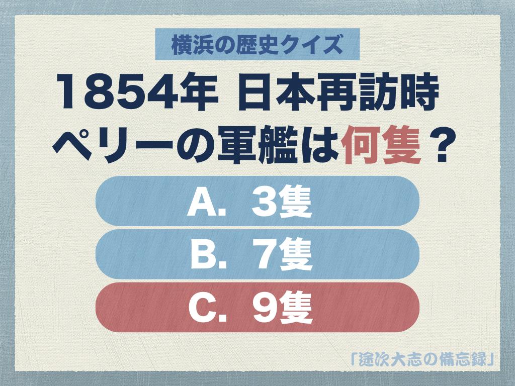 日本再訪時ペリーの軍艦は何隻?